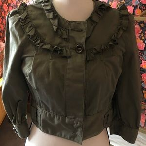 Green Cropped Jacket with Ruffle Details